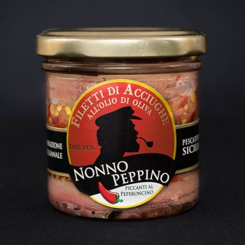 Filetti di Acciughe all'olio di oliva con Peperoncino 160g